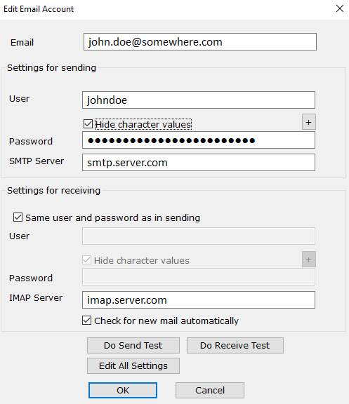 Settings for a typical email account